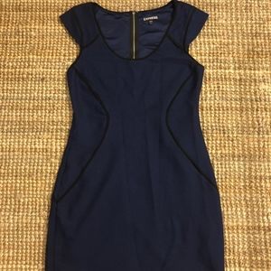 Express Blue and Black Mini Dress
